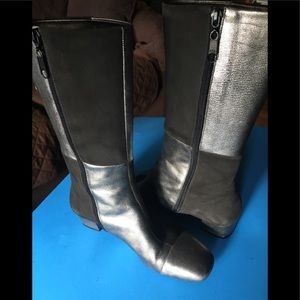 Franco Sarto Patchwork Genuine Leather Suede Boots